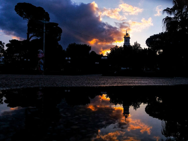 Reflection Silhouette Night Sky Cloud - Sky Sunset Water No People Tree Outdoors Architecture Nature Politics And Government City
