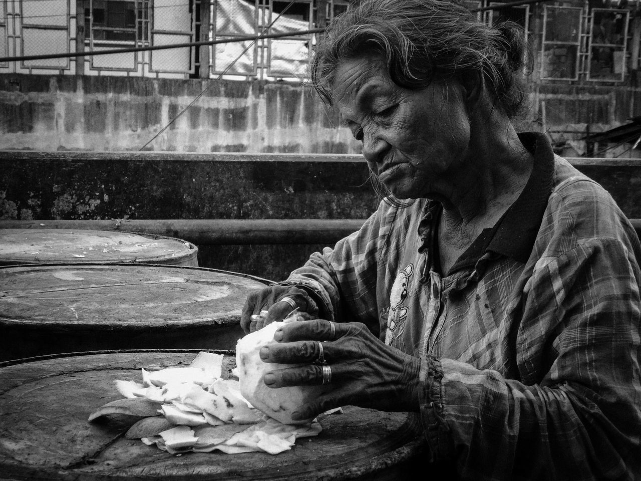 Real People One Person Documentary Photo Photojournalism Eyeem Philippines Monochrome Photography Street Photography Urban Scene Black And White Photography Urban Lifestyle Streetphotography People Photography Outdoors One Woman Only Woman At Work Monochrome