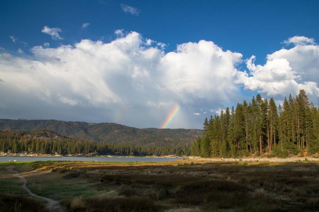 Bass Lake, California Cloud Blue Sky Cloud - Sky Clouds And Sky Landscape Mountain Mountain Lake Pine Tree Rainbow Sky