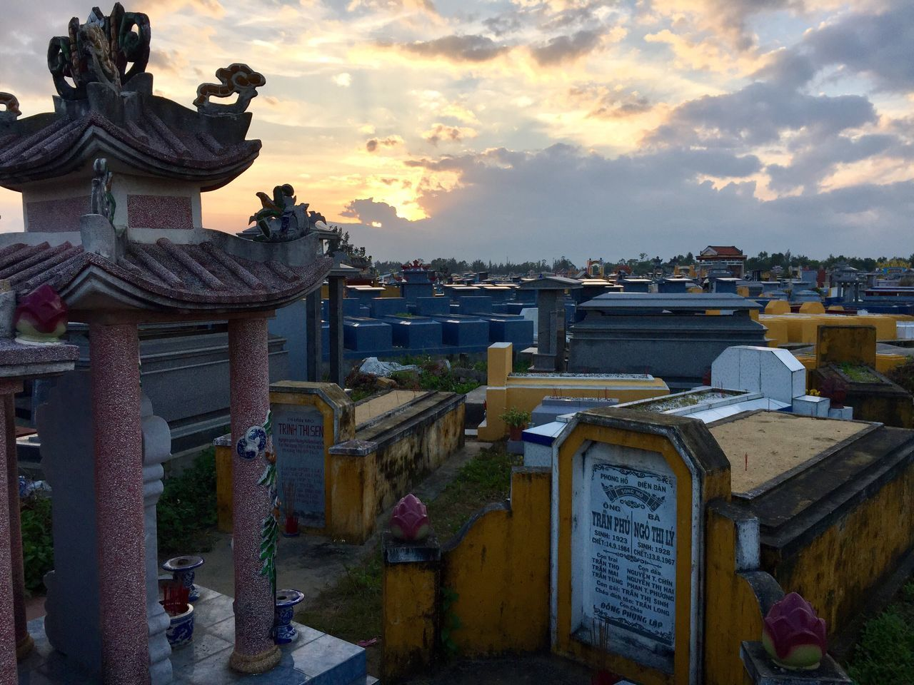 Sun sets over a massive cemetery Sunset Architecture Cemetery Buddhist Vietnam Hoi An Hoi An, Vietnam Sculpture No People Peace And Quiet Peaceful Tranquil Scene