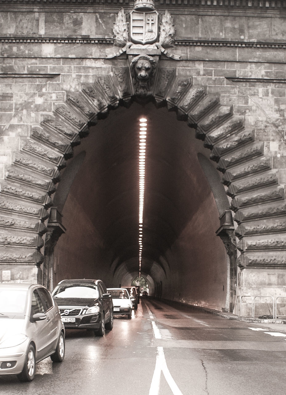 transportation, car, arch, the way forward, architecture, tunnel, built structure, mode of transport, indoors, land vehicle, illuminated, travel, no people, day