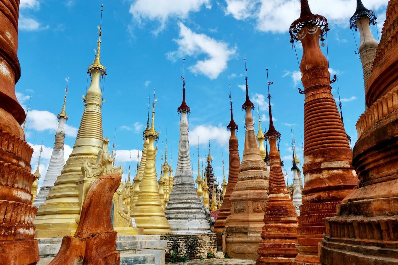 Religion Spirituality Place Of Worship Sky Ancient Architecture No People Outdoors Low Angle View Day Pagoda Temple Built Structure Building Exterior Ancient Civilization Historical Building Cloud - Sky Landscape Check This Out Popular Photos Travel Travel Destinations in Inn Dein Inle Lake , Myanmar