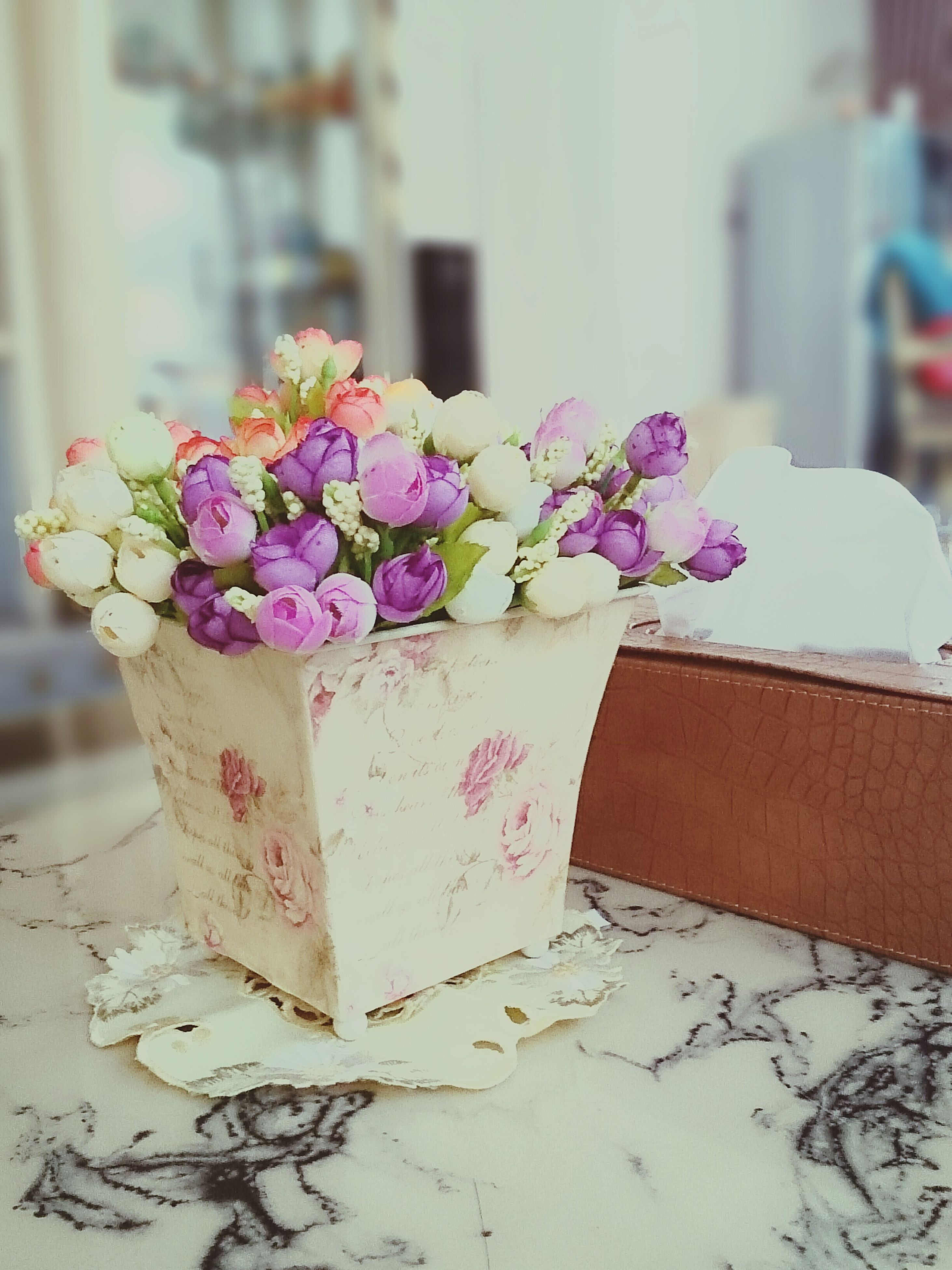 flower, freshness, focus on foreground, fragility, close-up, purple, plant, petal, growth, nature, beauty in nature, selective focus, bunch of flowers, potted plant, day, no people, pink color, table, built structure, leaf