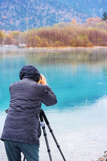 A camera man behind the nice shot. Rear View Water One Person Reflection Lake Only Women Standing One Woman Only Leisure Activity Beauty In Nature Nature Day Outdoors Real People Women Lifestyles Full Length Adult Tree Adults Only Autumn Japan Beautiful