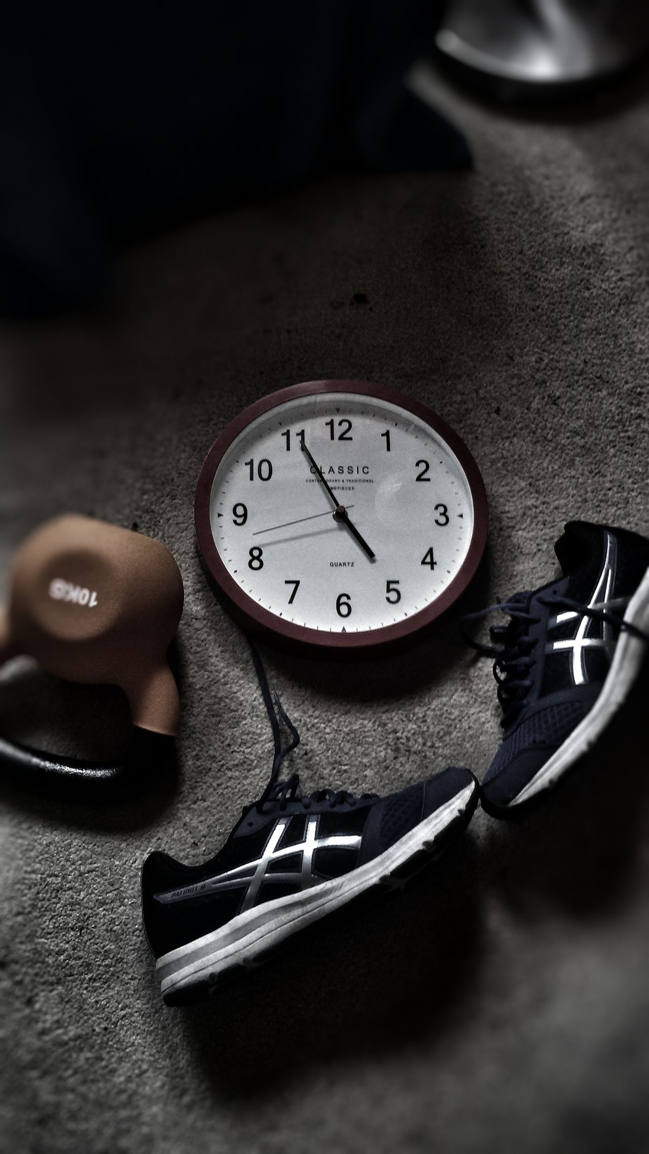 Out Of The Box Trainers Brand Still Life Clock Close-up Soft Focus Effects & Filters Kettlebell  Phisical Activity Sport