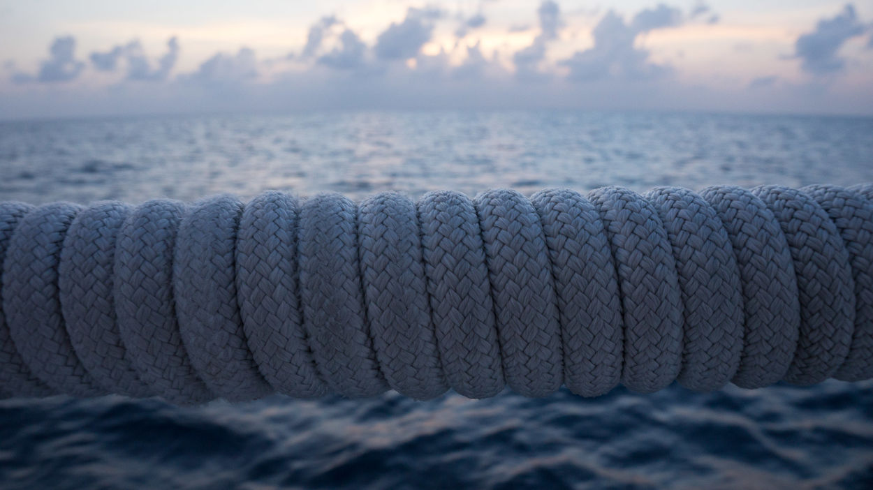 horizontal boat rope and water Boat Close-up Copy Space Day Dusk Handrail  Hold On Tight Holiday Horizon Over Water Horizontal Loving Life! Luxury Nature Nautical Vessel No People Outdoors Rope Sea Sky Strength Textured  Tropical Paradise Vacations Water Let's Go. Together.