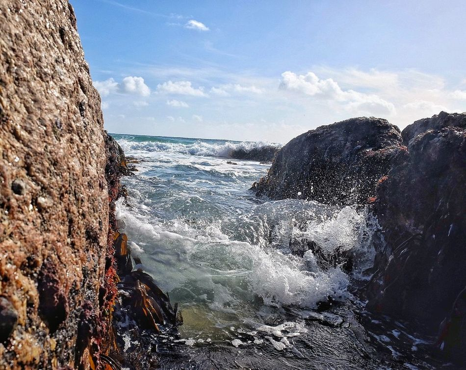 Sea Water Wave Splashing Beach Outdoors Day Beauty In Nature Sky Horizon Over Water No People Rock From My Point Of View Waves Crashing On Rocks Waves Waves Crashing Waves And Rocks Beachphotography Taking Photos Coast Wave Cornwall Taking Risks Taking Pictures Waves, Ocean, Nature
