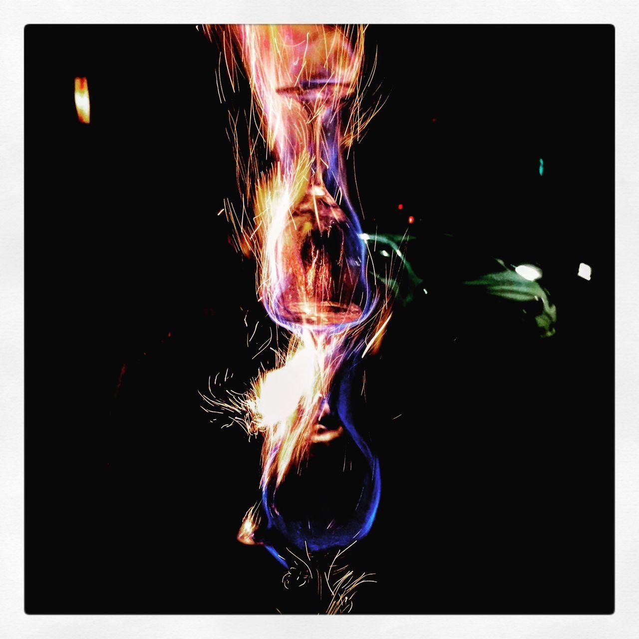 burning, flame, night, illuminated, motion, black background, long exposure, no people, close-up, outdoors