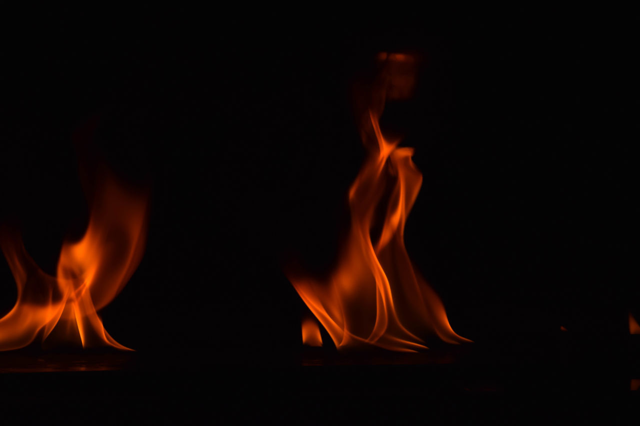 flame, heat - temperature, burning, glowing, orange color, night, no people, close-up, bonfire, indoors, black background