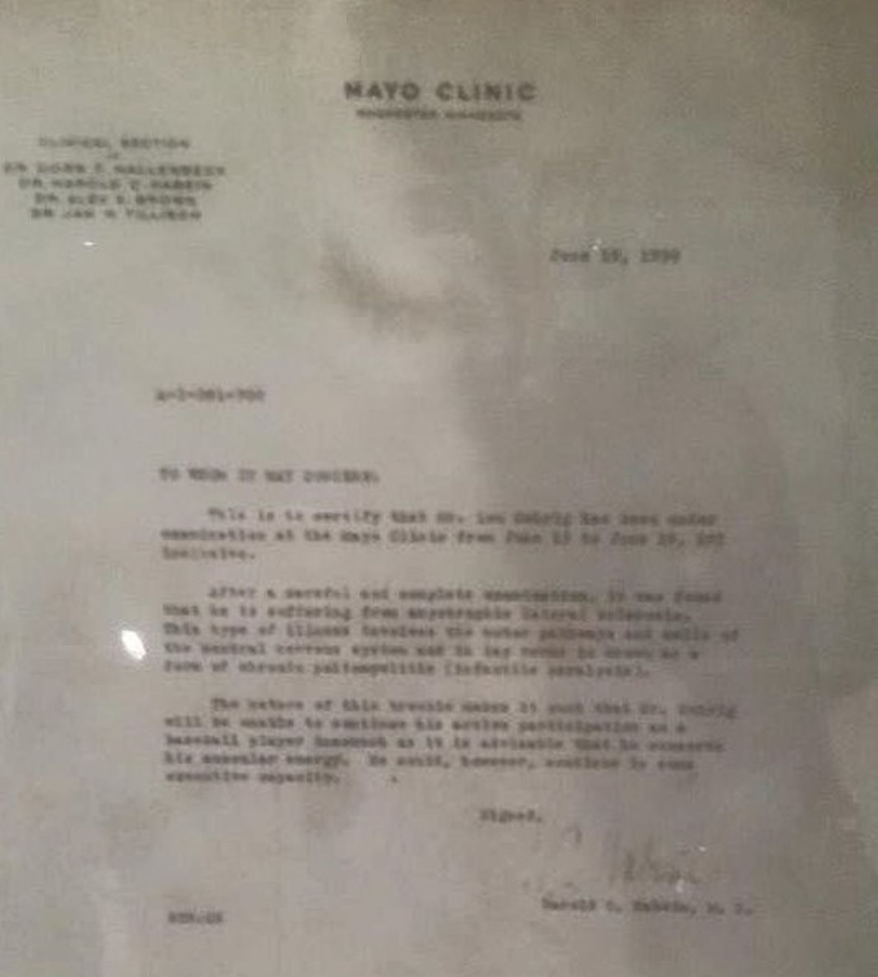 The letter that Lou Gehrig received from Mayo Clinic when he was diagnosed with his eventual life-ending disease (ALS) Als Baseball Gehrig Hall Of Fame Major League Baseball Mayo Clinic Retirement