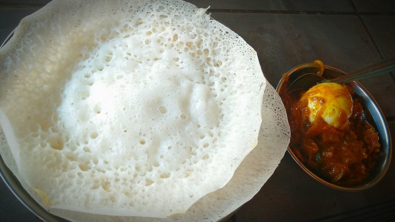 Food Kerala India Appam Egg Curry Breakfast