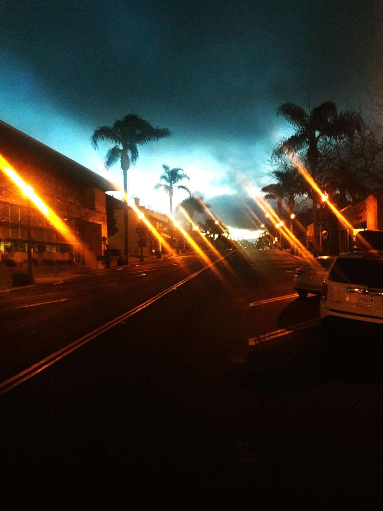 Street Light Illuminated Outdoors No People Sky Night Dusky Sky Dusk In The City Ventura Ca Rays Of Light Creative Photography Light And Shadow City Sky_collection