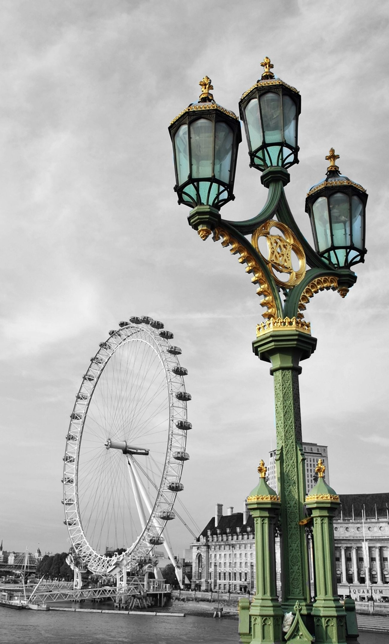 Architecture Black And White And Color Built Structure England🇬🇧 Ferris Wheel London London Eye LONDON❤ Outdoors Sky Travel Destinations United Kingdom Westminster Bridge