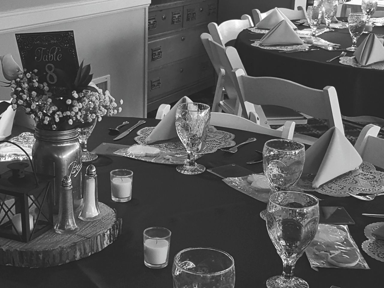 Blackandwhite Photography Country Club Black And White Wedding Vase Of Flowers No People Arrangement No People, Indoors
