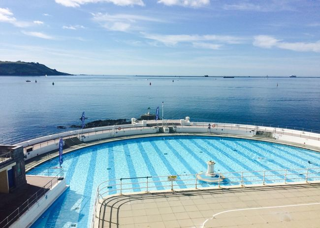 Britain Coastline Lido Plymouth Plymouth Lido Pool Seaside Swiming