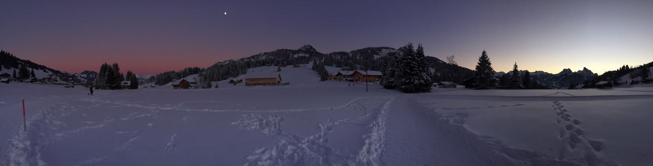 Sunset and Dusk Panorama in the Snow