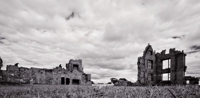Climbing on the ruins of Moreton Corbet Elizabethan Manor House, Shropshire. OlympusPEN Kowa Lens Blackandwhite Monochrome Ruins Elizabethan Moreton Corbet Learn & Shoot: Layering Landscape Silhouette Landscapes With WhiteWall