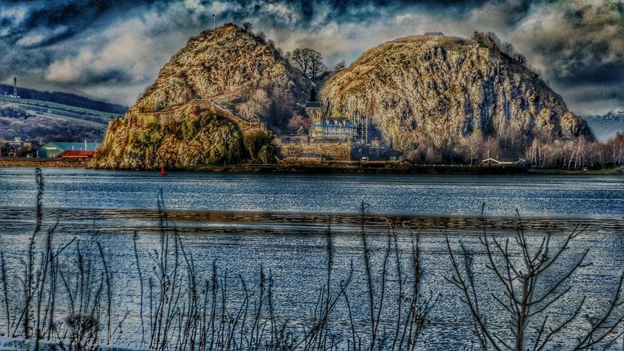 Dumbarton Rock view accross the clyde from Langbank Scotland United Kingdom