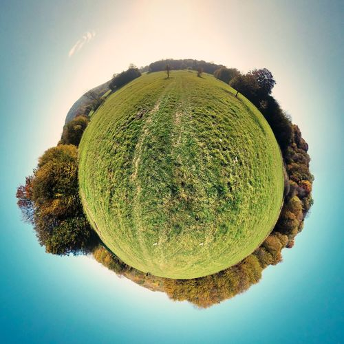 Sky Nature Green Color No People Beauty In Nature Growth Clear Sky Tranquil Scene Tree Tranquility Outdoors Fish-eye Lens Day Huge Miniglobe Minimalism Planet Earth Planet