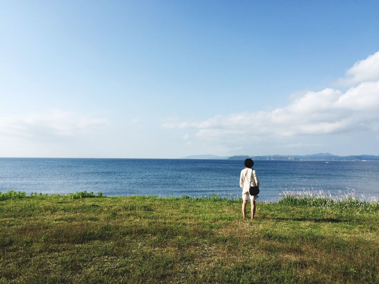 Day dreaming... Sea Nature Horizon Over Water Sky Full Length Water Rear View Standing Grass Scenics Beauty In Nature One Person Real People Tranquility Outdoors Day Lifestyles Beach Women