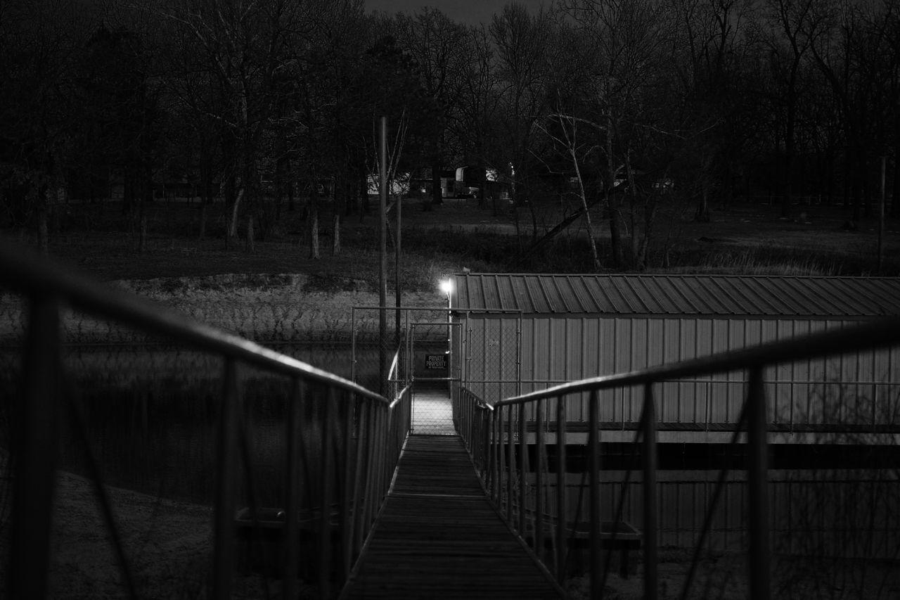 Blackandwhite Boat Dock Light Nature Night No People Outdoors Private Property Railing The Way Forward Tree Bridge
