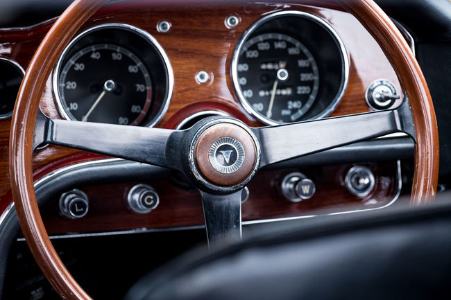 Car Car Interior Classic Cars Dashboard Speedometer Switches Wheel Wood Finish