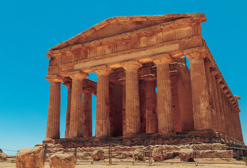 Agrigento Abandoned Ancient Ancient Civilization Archaeology Architectural Column Architecture Bad Condition Built Structure Clear Sky Damaged Day History Italy Low Angle View No People Old Ruin Outdoors Sky Temple The Past Tourism Travel Travel Destinations Weathered