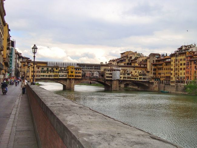 View of Ponte vecchio, Firenze Architecture Built Structure Bridge - Man Made Structure Sky Building Exterior Cloud - Sky Water Connection River City Transportation Day Outdoors Footbridge No People Cityscape Florence Italy