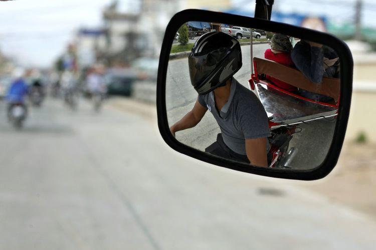 Car City Close-up Day Focus On Foreground No People Outdoors Reflection Side-view Mirror Transportation Tuk Tuk In Phnompenh TukTuk TukTuk In Phnom Pehn Tuktuk Streets Tuktukdriver Vehicle Mirror