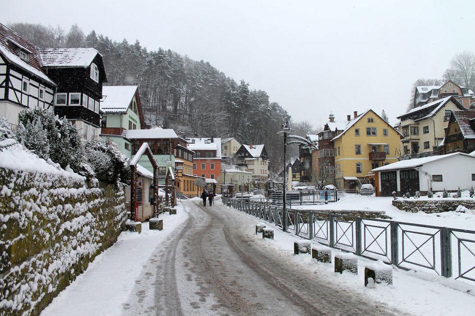 Architecture Building Exterior Cold Temperature Day House Limestone Outdoors Rathen Saxon Switzerland Saxony Snow Snowing Village Winter