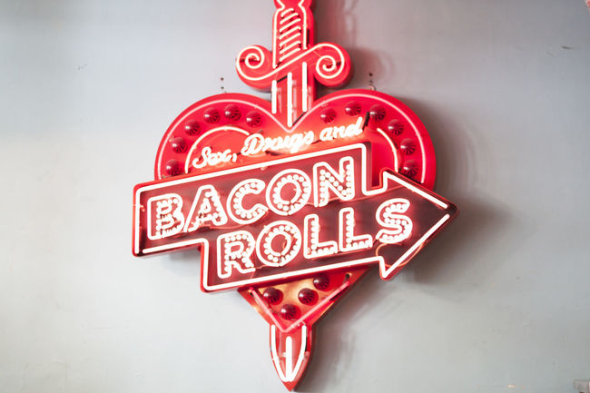 Sex, Drugs, and Bacon Rolls Sign Board from The Breakfast Club July 4, 2016 Breakfast Close-up Europe London London Lifestyle Neon Neon Lights Red Sign Signboard Signboards The Breakfast Club Travel Travel Destinations Travel Photography Vintage