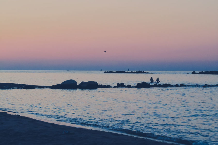 Summer Love ∞ Summertime Beach Beachphotography Beauty In Nature Campomarino Horizon Over Water Italy Nature Outdoors People Scenics Sea Silhouette Sky Sunset Sweetheart Tranquil Scene Tranquility Water Wave EyeEmNewHere