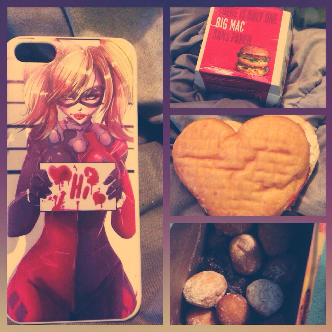 What my brother got me cause he's bomb Harleyquinnphonecase Mcdonalds Timhortons OMGYum Wasbomb