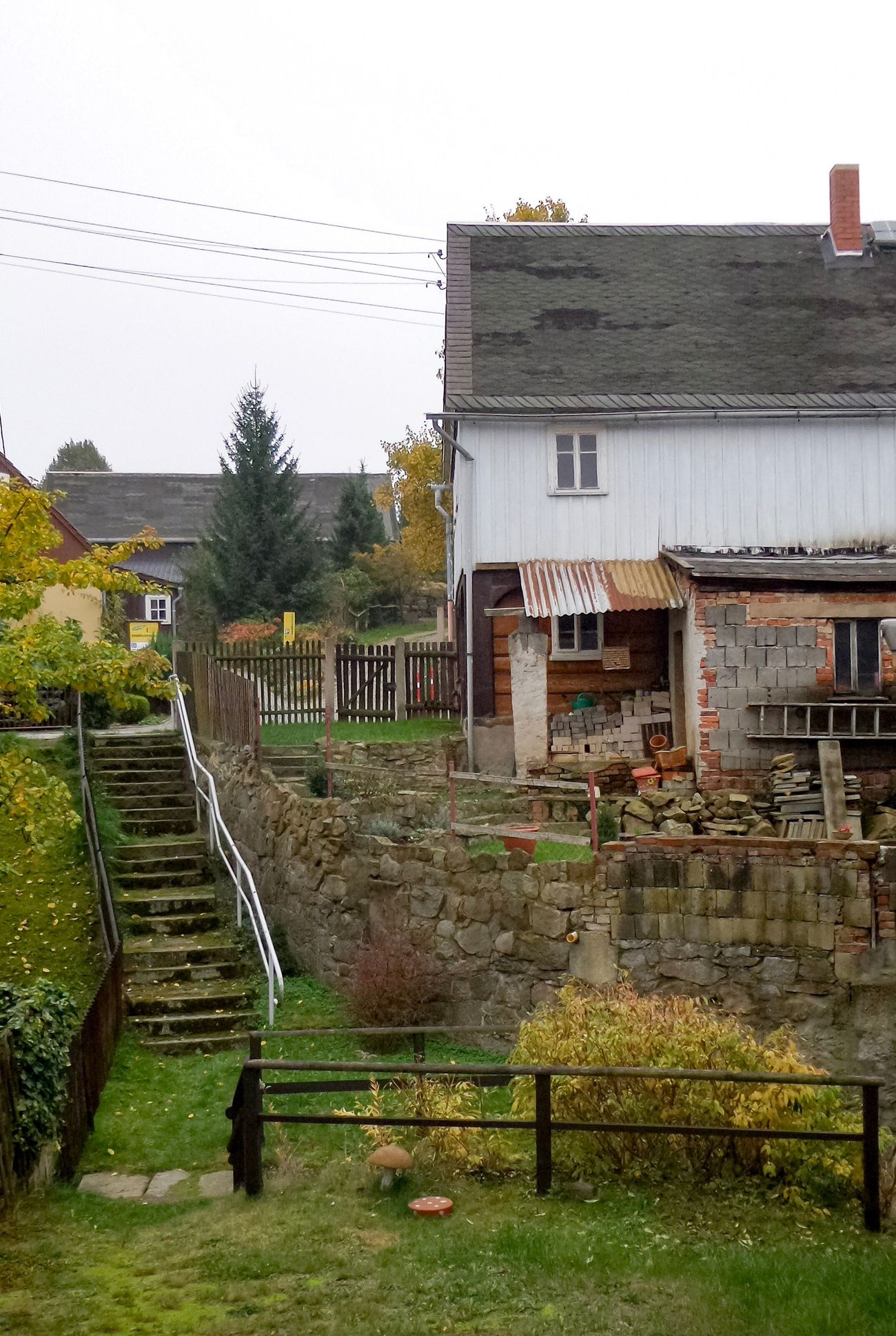 Rural idyll in the countryside of the Upperlusatia in Saxony - Germany. Built Structure Architecture House Building Exterior Outdoors No People Steps Residential Building Day Tree Sky Nature Autumn Stair Villagelife Impression Calm Tranquility