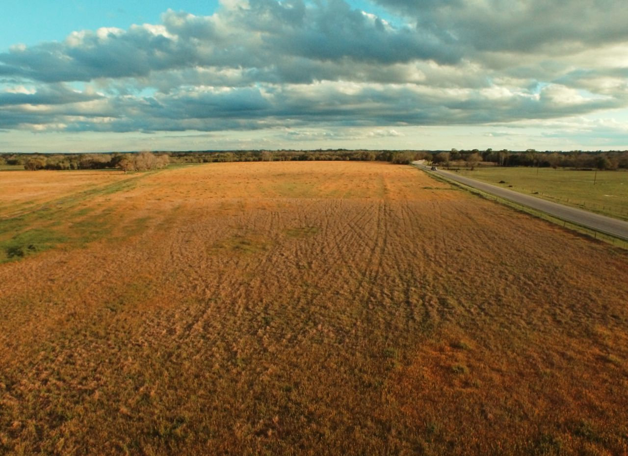 Aerial photograph over ranch land Landscape_Collection aerial_photograpy Texas pastureland Dawn
