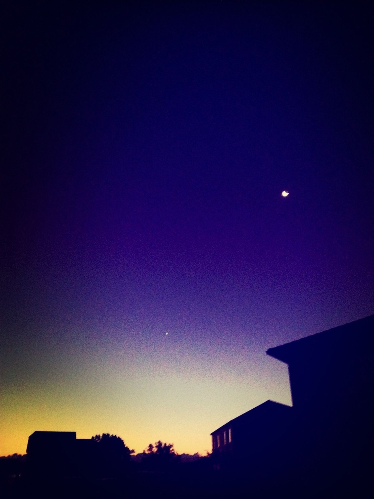 Venus and the moon in the early morning sky