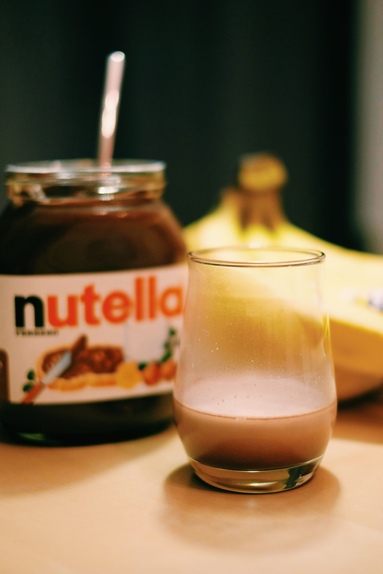 Banana Close-up Day Drink Drinking Glass Focus On Foreground Food Food And Drink Freshness Healthy Eating Indoors  No People Nutella Refreshment Table