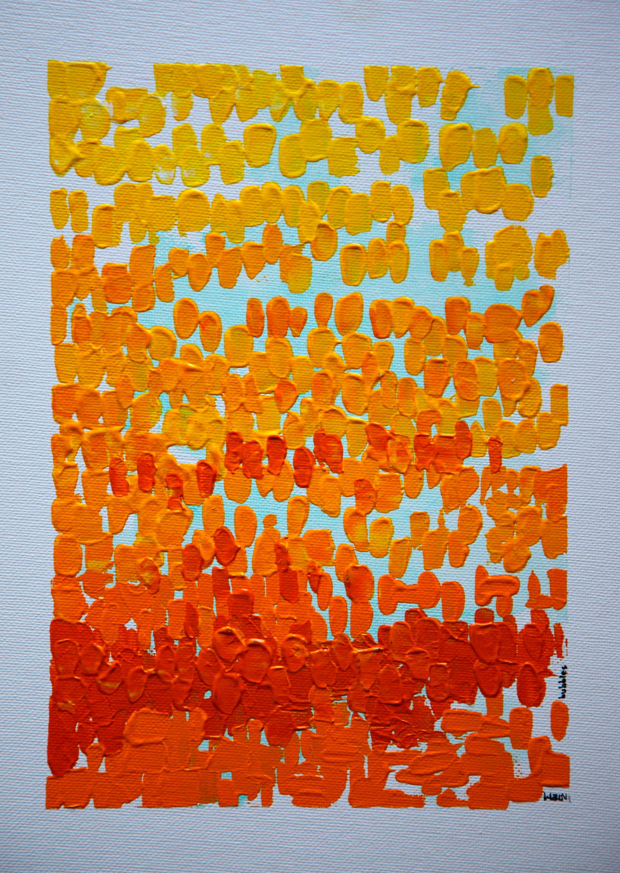 """""""Bubbles"""" acrylic on canvas board painted in April 2008 by Thomas E. McCutcheon (1949 - 2010). Acrylic Acrylic Painting Art Artist ArtWork Backgrounds Collection Creativity Design Full Frame Gallery Multi Colored No People Orange Paint Painting Pattern Red Textured  Thomas E. McCutcheon Yellow"""