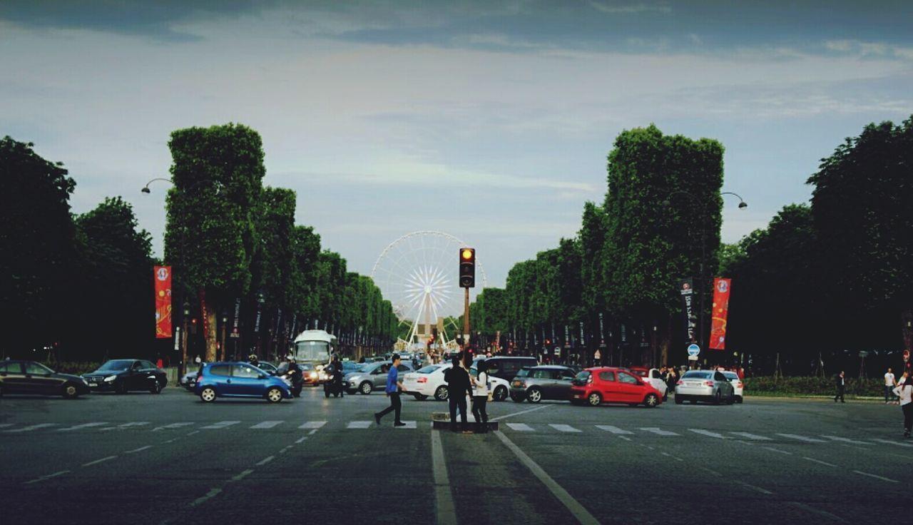 Paris Car Outdoors City People Symmetry Tree France Beauty Ferris Wheel EyeEmNewHere