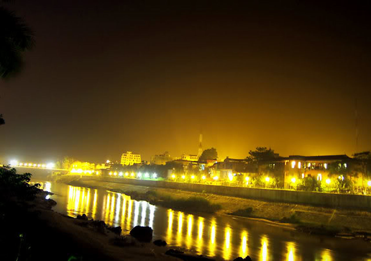 Hà giang về đêm Reflection Night Illuminated Architecture River Travel Destinations Built Structure Water Building Exterior Outdoors City No People Cityscape Sky Tree Urban Skyline Politics And Government