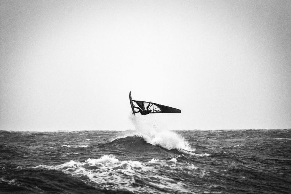 Adventure Blackandwhite Clear Sky Danmark Day Extreme Sports Horizon Over Water Klitmøller Leisure Activity Men Motion Nature One Person Outdoors Real People Sailing Scenics Sea Skill  Sky Sport Surfing Water Waterfront Wave