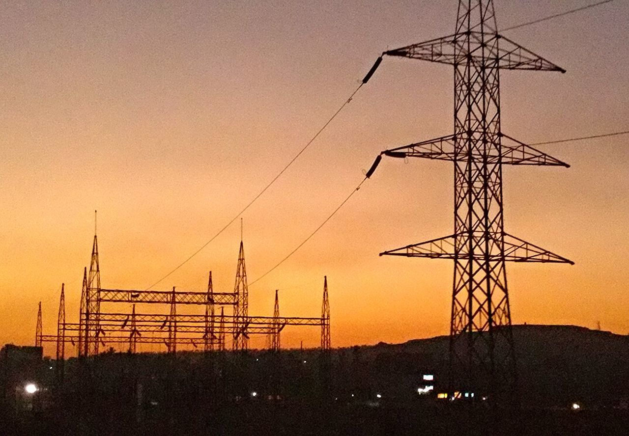 electricity pylon, sunset, electricity, cable, fuel and power generation, connection, silhouette, no people, sky, technology, landscape, outdoors, clear sky, nature, day