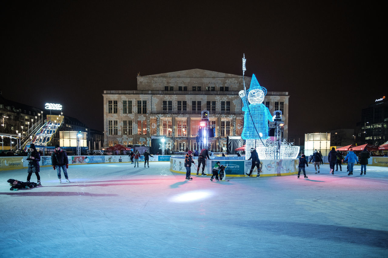 Architecture Building Exterior Built Structure City Cold Temperature Ice Rink Ice Skate Illuminated Large Group Of People Night Operahouse Opéra Outdoors People Sky Winter