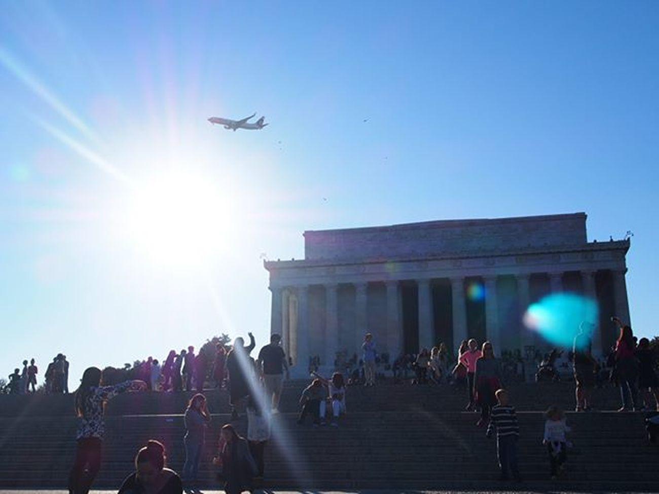 The Lincoln Memorial in Washington D.C. ---------------------------------------- WashingtonDC ExploreUSA Wanderlust Travel Instatravel Olympus Lincolnmemorial Lincoln Sunny Sunnyday Emancipation Sunshine Explorewashington History Plane Flyingthroughthesun Crowd Crowded