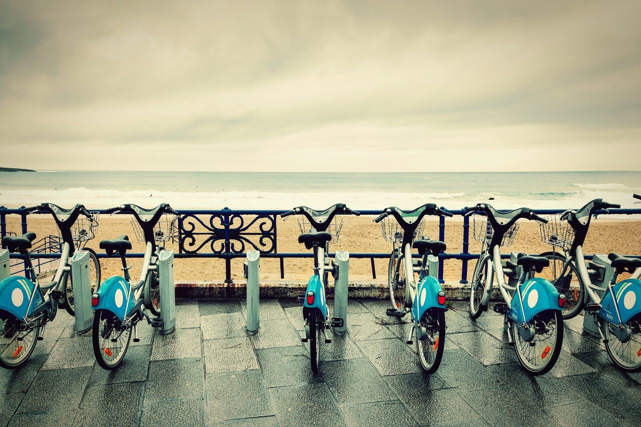 Bicycle RENT Rental Bikes. Coast Coastline Sea Water Urban Day Cloudy Rainy Days Rain Santander City Morning One Daily Shoot EyeEm Best Shots Beautifully Organized The Great Outdoors - 2016 EyeEm Awards