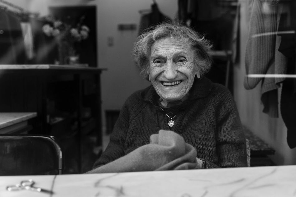 Marie José, 90 years old, owner of Le Stoppage, repairs clothes for 75 years. Respect! Brussels Portrait Blackandwhite Photography Monochrome Reportage Documentary Social Documentary Social Photography Working People