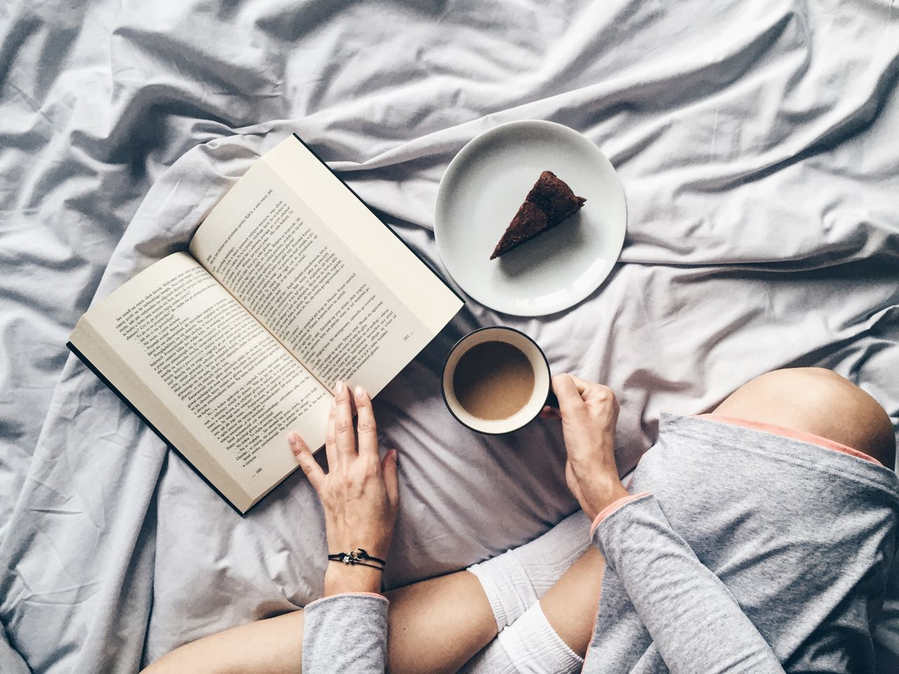 Beautiful stock photos of books, Bed, Book, Coffee - Drink, Coffee Cup