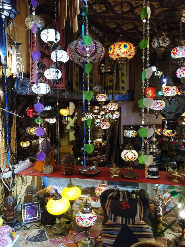 Lovely hanging lamps. I wanted one of these so much but couldn't bring home ... Granada SPAIN Lamp Arabian Pretty Beautiful Wanting This!   Souvenir Colors Colorful