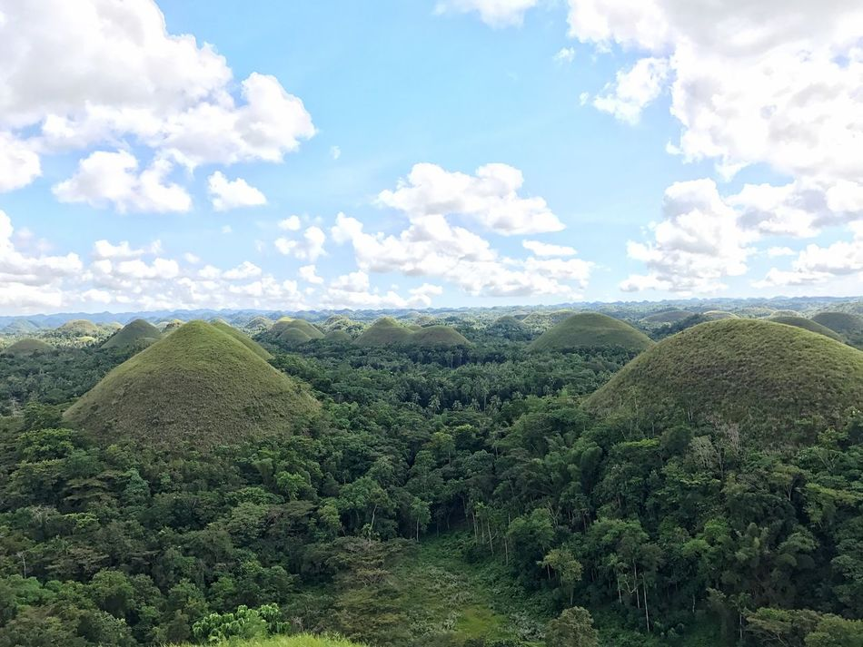 Scenics Landscape Nature Beauty In Nature Field Growth Green Color Chocolatehills Bohol Philippines sSkyaAgriculturetTranquil ScenefFarmtTranquilitypPlantationlLush FoliagetTreeoOutdoorsnNo PeopleiIdylliccCloud - Sky