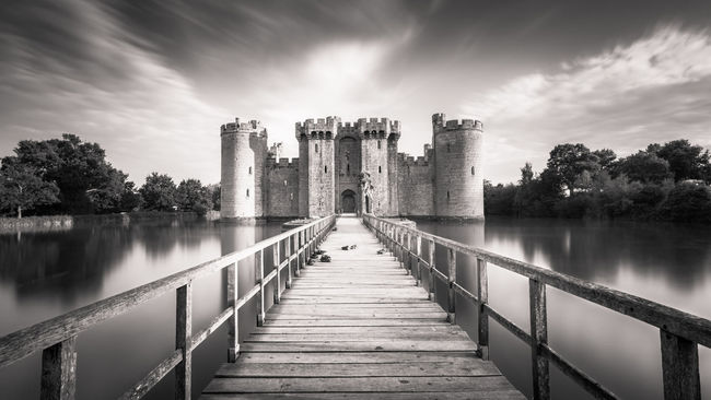 Architecture Bodiam Building Exterior Castle Clouds Entrace History Long Exposure Mono The Past